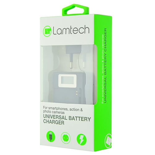 LAMTECH UNIVERSAL BATTERY CHARGER FOR SMARTPHONES, PHOTO & ACTION CAMERAS,st.LAM063067
