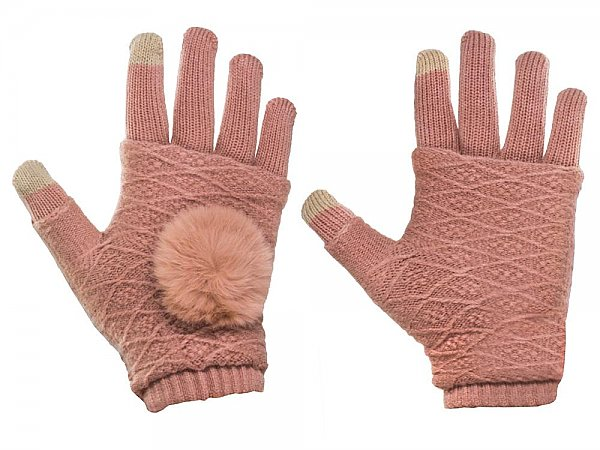 Γάντια Touchscreen ΟΕΜ 2in1 Striped and Fingerless Pink