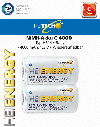 HEITECH RECHARGEABLE BATTERY HR14/BABY/C 4000mAh 2PCS,st.HEI002188