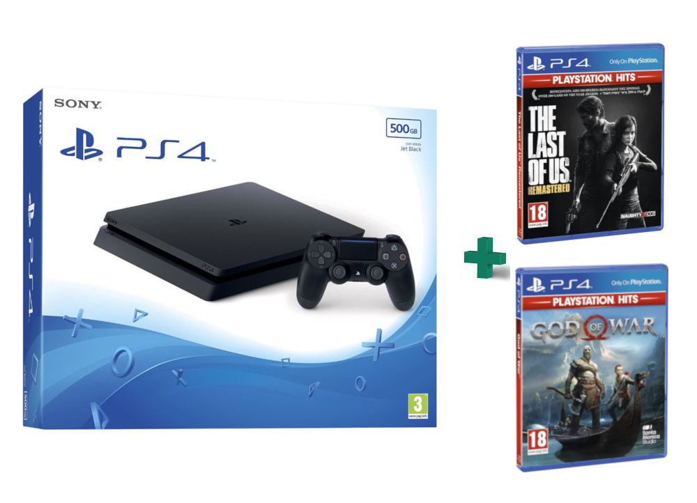 Sony PlayStation 4 - 500GB Slim D Chassis & God Of War Playstation Hits & The Last Of Us Playstation Hits,pub.1509714