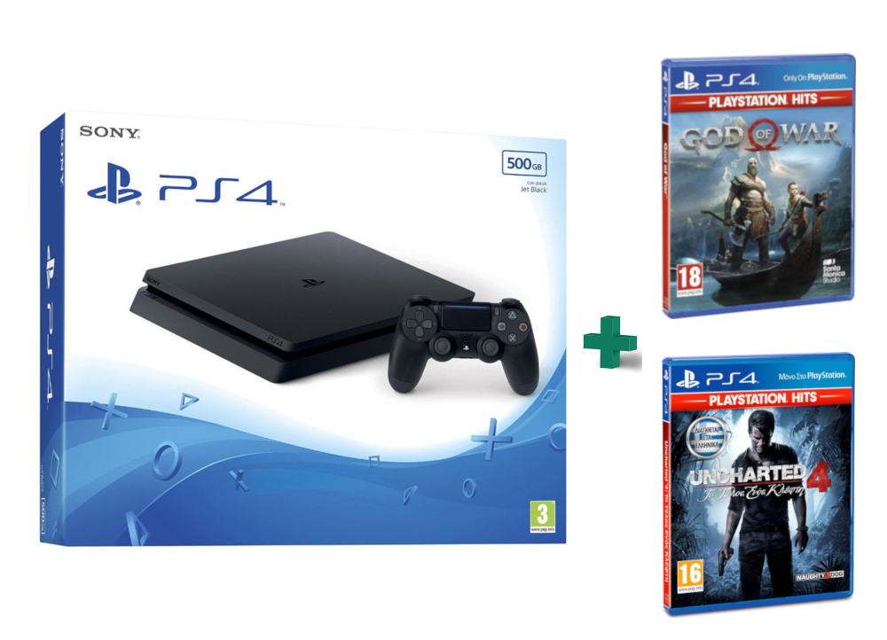 Sony PlayStation 4 - 500GB Slim D Chassis & God Of War Playstation Hits & Uncharted 4: Το Τέλος Ενός Κλέφτη PlayStation Hits,pub.1509693